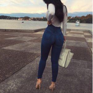 Classic high waist skinny jeans medium blue wash